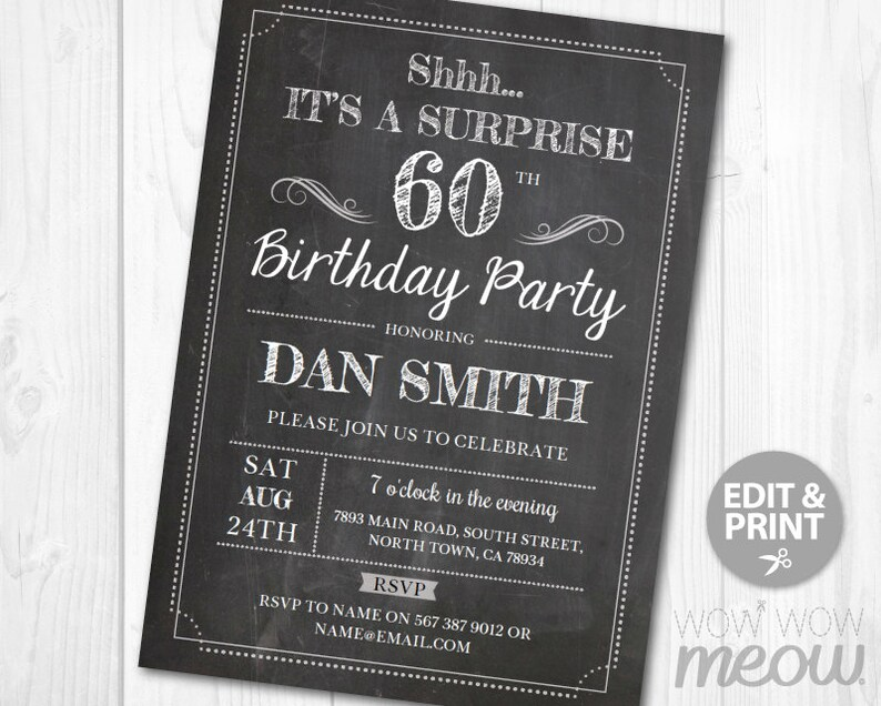 Surprise 60th Birthday Invitations SIXTY Invite Chalk Board