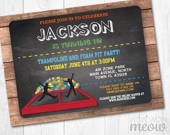 Trampoline & Foam Pit Invitation Jump Party Invite Birthday ANY AGE Instant Download Bounce Chalk Customize Personalize Editable Printable