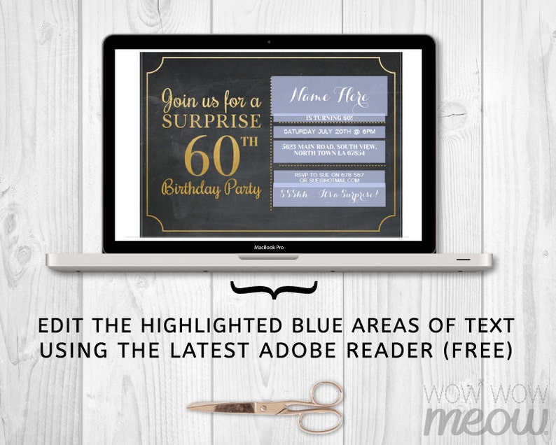 Surprise 60th Birthday Invitation Elegant Party Sixty Invitation Chalk  Womens Instant Download Editable Printable Personalize Lights Digital