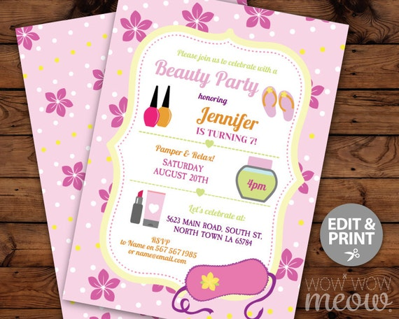 Beauty Party Invitations Pamper Birthday Invites INSTANT DOWNLOAD Mask Nails Relax Day Personalize TWINS Editable Digital Printable Template