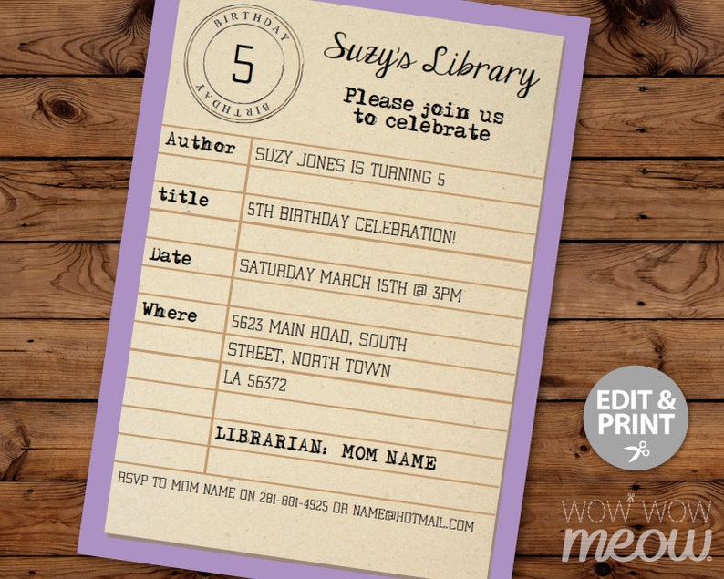 Library Card Birthday Invitation INSTANT DOWNLOAD Party