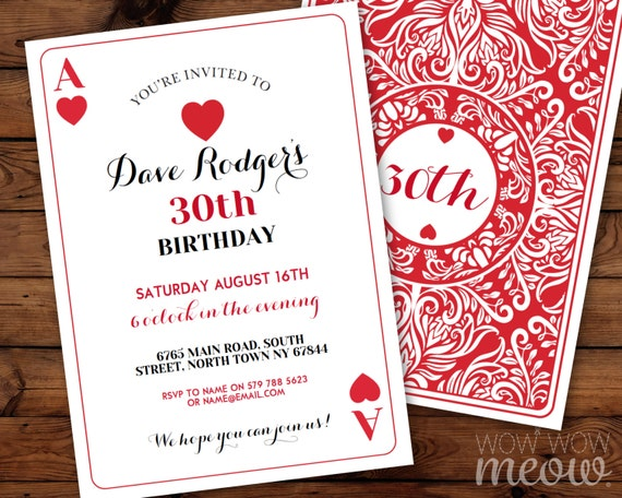 Playing Cards Birthday Invitation Any Age Instant Download Etsy