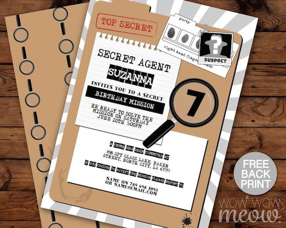 Secret Agent Invitations Birthday Invite Spy Instant Download Etsy