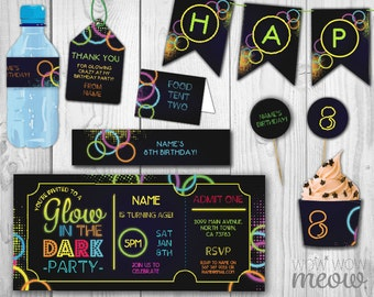 Glow in the Dark Package Invitations Birthday Party Invitations Ticket Let's Full Printable Collection INSTANT DOWNLOAD Editable Personalize