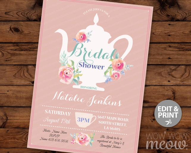 Bridal shower invitation teapot garden party pink coral tea etsy image 0 filmwisefo