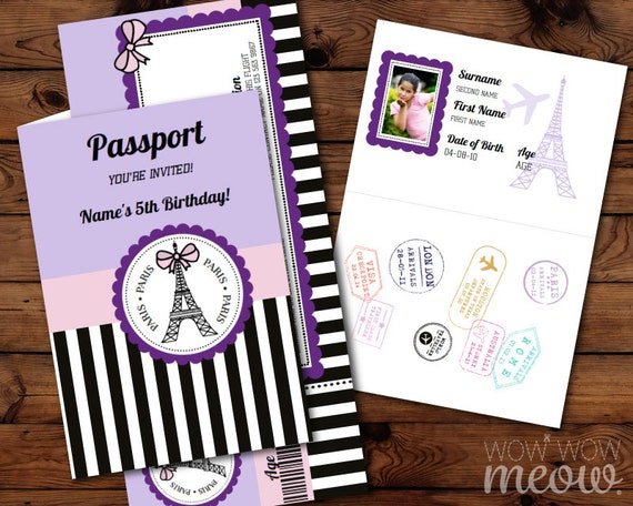 Paris Invite Passport Invitation Ticket Instant Download Purple Girls French Birthday Party Personalize Editable For Kids Children Printable