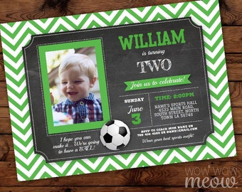 Soccer Green Birthday Invitations Any Age Photo Boy's Sports Invite INSTANT DOWNLOAD FootBall Personalize  Party Football Editable Printable