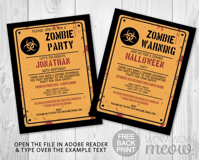 Halloween Zombie Party Invitations Warning Printable Instant