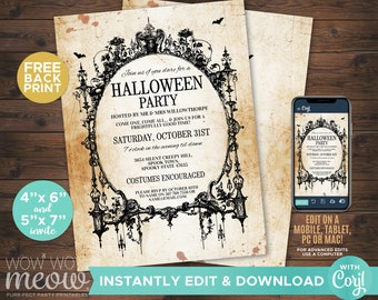 Halloween Invitations Black Gothic Spider Frame Party Printable INSTANT DOWNLOAD Spooktacular Dead Invite Personalized Editable Edit WCHA001