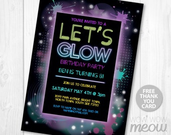 Let's Glow Party Invitations Girls Boys Any Age Invite INSTANT DOWNLOAD Dark NEON Digital Paint Customize Personalize Editable Printable