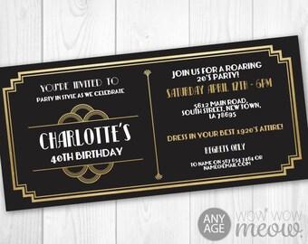 Art Deco Tickets Birthday Roaring 20s Invitation Invite 1920s Party INSTANT DOWNLOAD Gatsby Gold Black Personalize Editable Edit & Printable