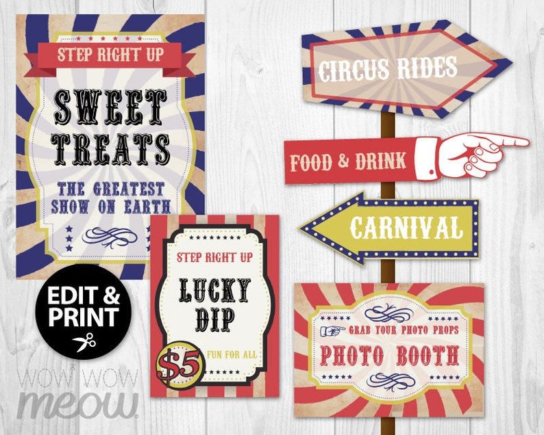 photo regarding Free Printable Carnival Signs named 28 Traditional Circus Symptoms Printable Quick Down load Steering Arrow Signpost Customize Birthday Carnival Occasion Edit Hand Editable Enjoyable Article