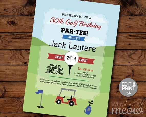 Golf Birthday Invites Par-tee Invitations INSTANT DOWNLOAD Any Age  Tournament Clubs Mens Women's Golfing Tee Ball Sports Editable Printable