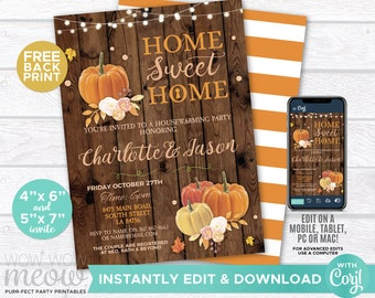 Pumpkin Fall Housewarming Invite New House Invitation Home Sweet Home Couples Party INSTANT DOWNLOAD Wood Leaf Printable Editable WCHO001