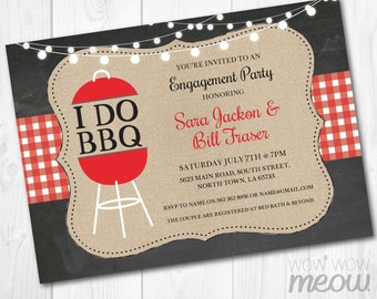 I Do BBQ Couples Shower Invite Engagement Party Invitation INSTANT Download Red Check Rustic Lights Chalk Personalize Editable Printable