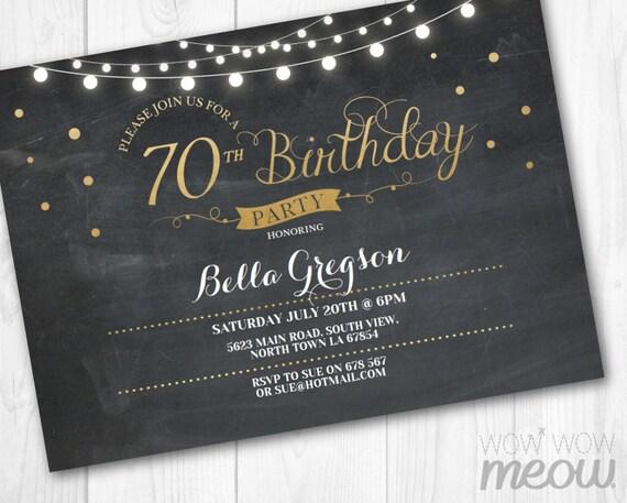 70th Birthday Invitation Elegant Party Seventy