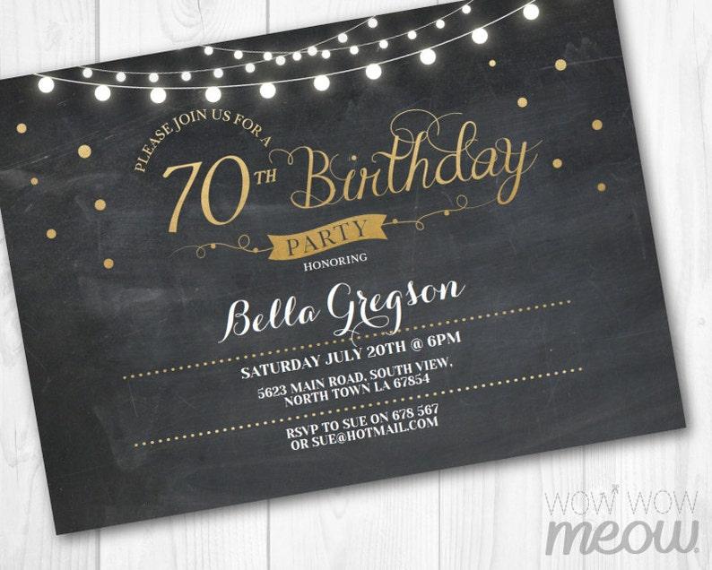 70th Birthday Invitation Elegant Party Seventy Invitation Chalk Womens  Instant Download Editable Printable Personalize Lights Digital Print