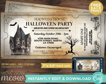 Halloween Invitations Haunted House Tickets Invites Party Printable INSTANT DOWNLOAD Bat Spooky Scare Personalized Editable Edit WCHA015