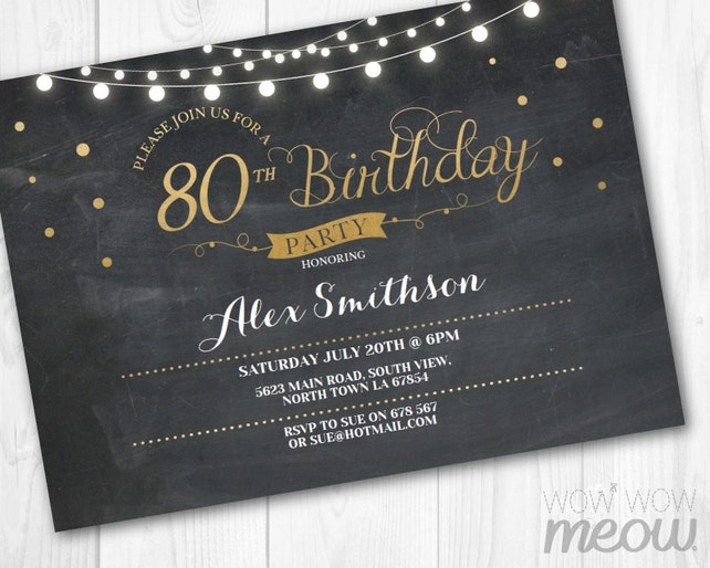 80th Birthday Invitation Elegant Party Eighty Chalk Womens Instant Download Editable Printable Personalize Lights Digital Print