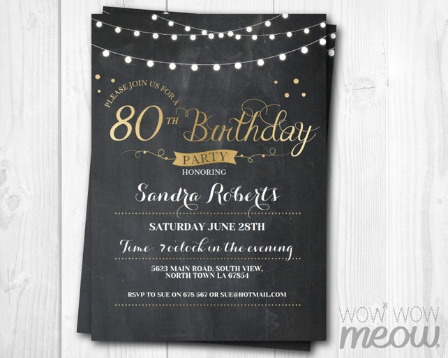80th Birthday Invitation Elegant Party Chalk Womens Instant Download Editable Printable Personalize EIGHTY Lights Digital Print