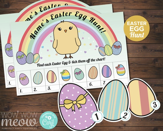 Easter Egg Scavenger Hunt Activity Chick Sheet Rainbow INSTANT