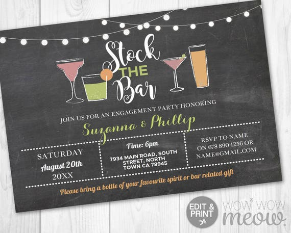 cocktails stock the bar invitations couple s shower etsy