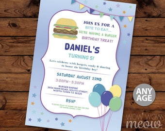 Burger Party Invitation Blue Birthday Party INSTANT DOWNLOAD Girl's Boy's Balloons Place Invite Any Age Blue Personalise Editable Printable