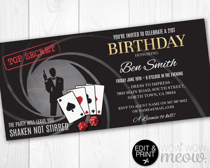 Surprise Secret Agent Invitations Spy Bond Invites INSTANT DOWNLOAD 007  Party Printable Editable Elegant Birthday Personalize Edit & Print