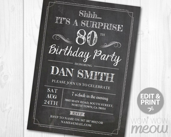 Surprise 80th Birthday Invitations EIGHTY Invite Chalk Party
