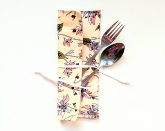 Cutlery Wrap - Utensil Holder - Reclaimed Cotton - Silverware Pouch for Lunch Bag - Reusable Straw Case - Toothbrush Pouch -  Washable