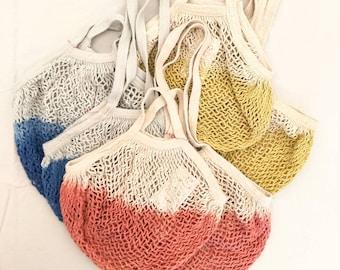 Net Tote Bag - Botanical Dye - Mesh Bag - Expandable String Tote - Plant Dye - Reusable Shopping Bag - Choose Your Color