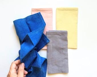 Plant Dyed Napkin Set - Set of Four - Reusable Gift Wrap - Large Handkerchief - Zero Waste - Reclaimed Cotton