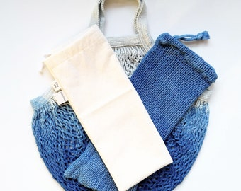 Zero Waste Market Kit - Net Tote Bag - Reusable Produce Bag - Plant Dyed - 100% Cotton - Grocery Shopping Kit