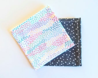 Handkerchief - Pocket Square- Reusable Tissue 100% Reclaimed Cotton - Hemmed Edges Rolled by Hand - Set or Single