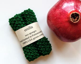 Reusable Cotton Dishcloths/Sponges - Set of Two Washcloths Knit by Hand - Green