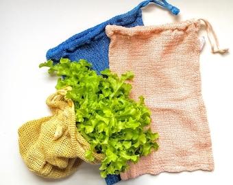 Reusable Produce Bag - 100% Cotton Bulk Bag - Zero Waste Shopping - Hand Dyed with Madder