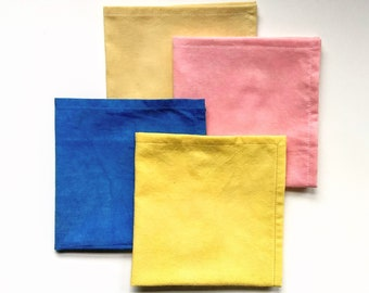 Naturally Dyed Handkerchief - Pocket Square- Cotton Reusable Tissue - Hand Dyed with Natural Plant Dyes - Modern Hankie - Hemmed Edge