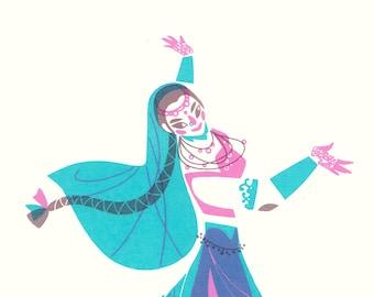 Illustration silkscreen 'Indian Dancer'