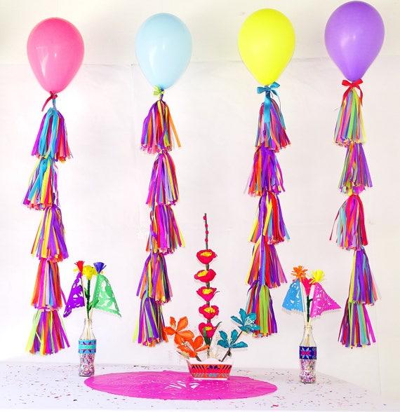 tissue paper tassels Balloon tassels Cinco de Mayo Mexico decor Fiesta decoration, balloon tail TAS05. Coco party balloon garland