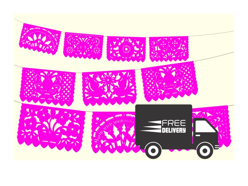 Taco party Cinco de Mayo,Paper picado Garland Mexican Papel picado WS800 60 Ft long Fiesta Decoration,Papel Picado,Bright pink banners