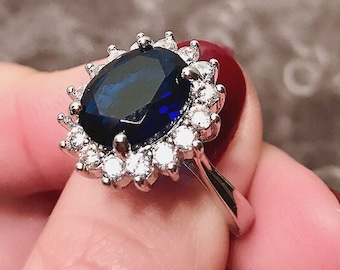 The Royal Wedding Ring | 6 carat Kate Middleton Princess Diana Meghan Markle blue sapphire royal duchess engagement ring is fit for a Queen