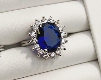 Royal Wedding Blue Sapphire Oval Halo Engagement Ring  2e5b13e1b8a0