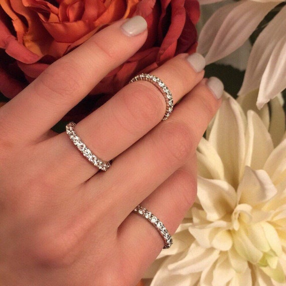 10 pairs of different couple ring eternity faux diamond band replica classic wedding anniversary  rings perfect for traveling simple dainty.