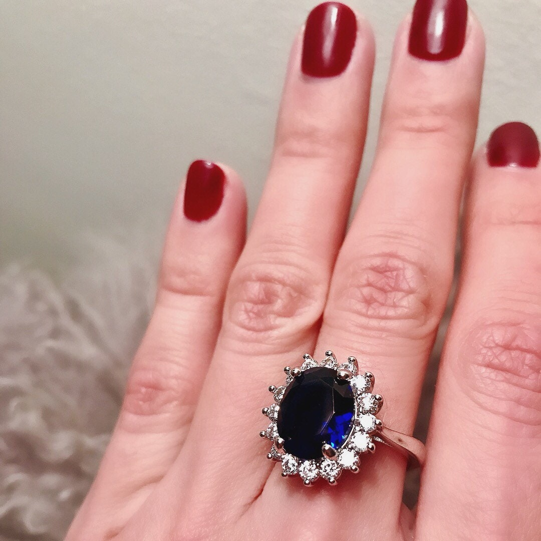 Royal Wedding Ring Stunning sapphire blue oval center stone | Etsy