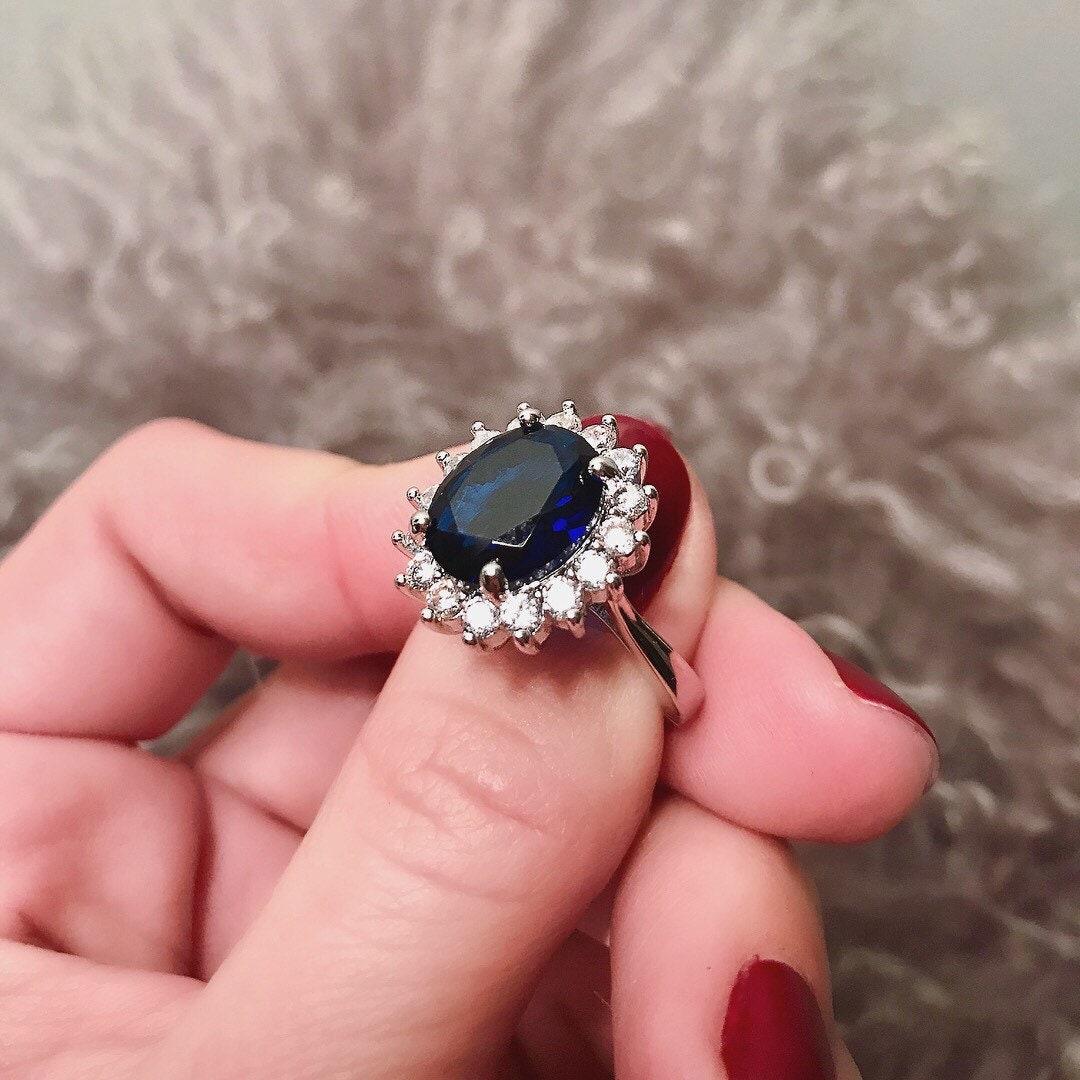 Royal Wedding Ring Stunning sapphire blue oval center stone   Etsy