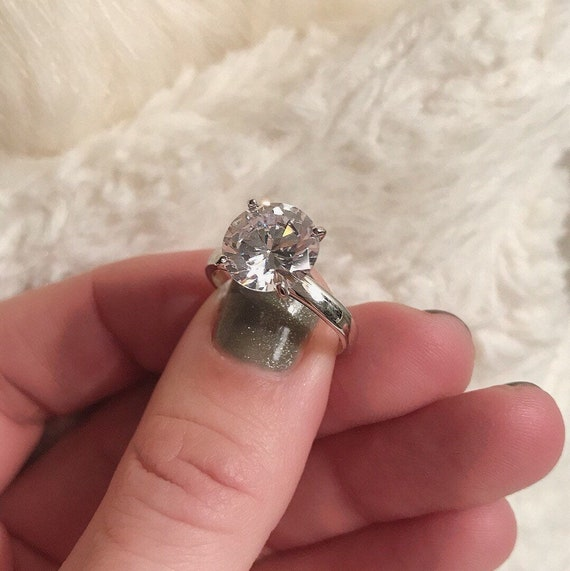 Sterling Silver 4.00 Ct Synthetic Diamonique Cubic Zirconia Solitaire Ring Estate