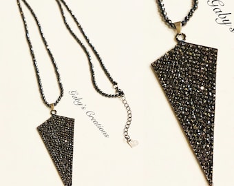 Arrowhead long Hematite necklace