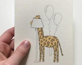 Birthday Giraffe Greeting Card