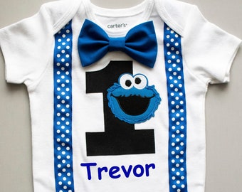 ef7950fbf80665 Cookie Monster 1st Birthday Shirt Cake Smash 1st 2nd 3rd Birthday Outfit  Toddler Bow Tie Shirt Tshirt Bodysuit Boys Personalized (optional)