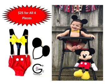 Mickey 1st First Birthday Outfit Mouse Cake Smash Photo Prop Clubhouse Party Bow Tie Baby Boy Costume